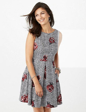 Floral Houndstooth Scuba Fit-And-Flare Dress from Dress Barn, Misses And Woman