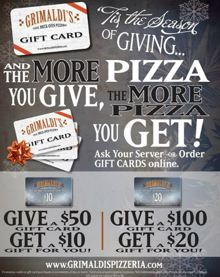 Grimaldi's Pizzeria Holiday Bonus Card Promotion from Grimaldi's Coal Brick Oven Pizzeria