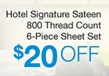 Hotel Signature Sateen 800 Thread Count 6-Piece Sheet Set $20 Off from Costco