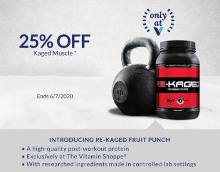 25% Off Kaged Muscle from The Vitamin Shoppe