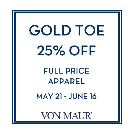 Gold Toe 25% off from Von Maur