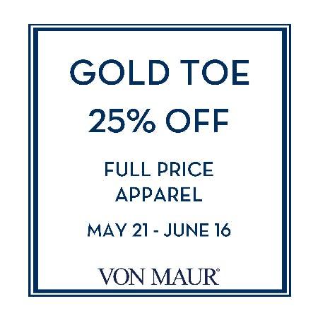 e1ac2dcd517 Sale at Von Maur. Gold Toe 25% off
