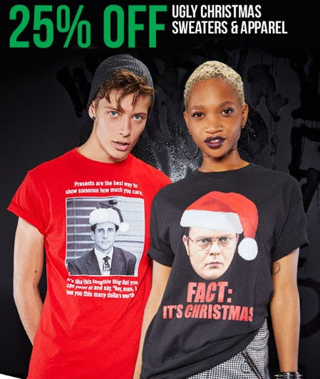 25% Off Ugly Christmas Sweaters & Apparel from Spencer Gifts