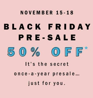 Black Friday Pre-Sale 50% Off from Old Navy
