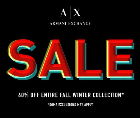 Up to 60% Off All A/X Armani Exchange Fall/Winter Merchandise from A|X Armani Exchange