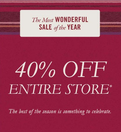 40% Off Entire Store from Abercrombie & Fitch