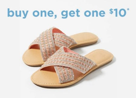 Slides Buy One, Get One $10 from rue21