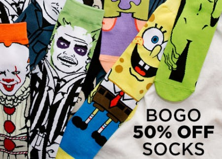 BOGO 50% Off Socks from Spencer's Gifts