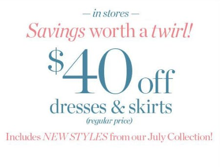 $40 Off Dresses & Skirts from Talbots Woman