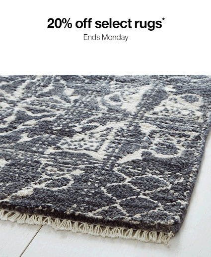 20% Off Select Rugs from Crate & Barrel