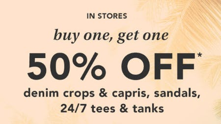 BOGO 50% Off Denim Crops & Capris, Sandals and More