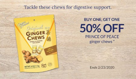 BOGO 50% Off Prince Of Peace Ginger Chews from The Vitamin Shoppe