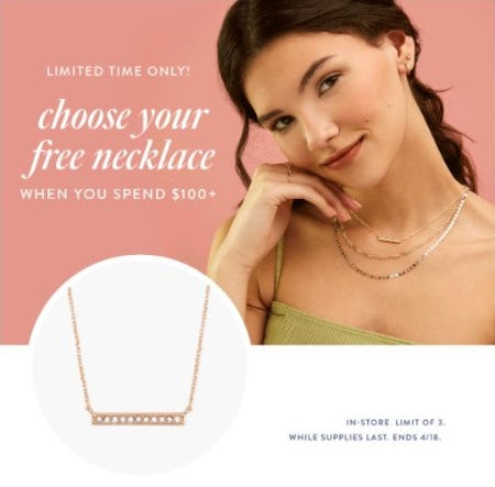 Free Necklace when You Spend $100+ from Kendra Scott