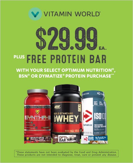 Select Proteins $29.99 & Free Bar with Select Purchase
