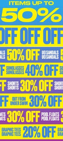 Items up to 50% Off from Urban Outfitters