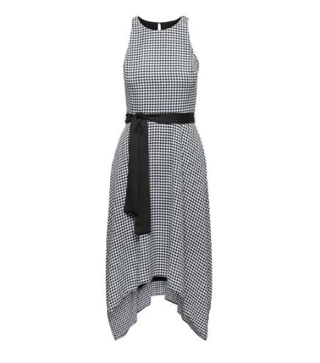 Gingham Racer-Neck Fit-and-Flare Dress