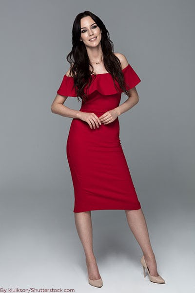 Woman in red off-the-shoulder dress.