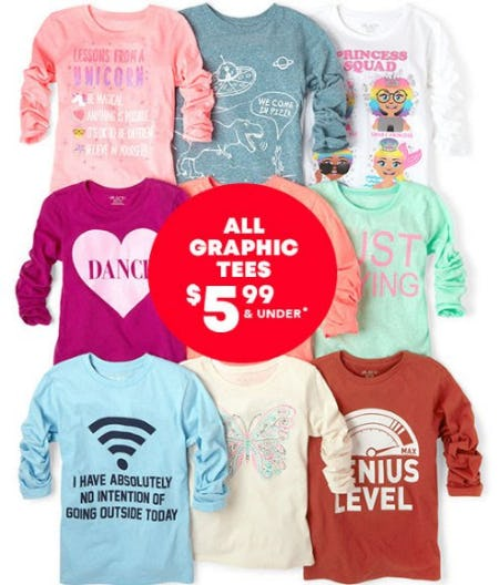 All Graphic Tees $5.99 & Under from The Children's Place