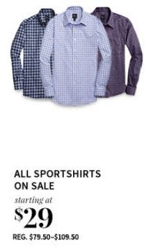 All Sportshirts on Sale Starting at $29 from Jos. A. Bank