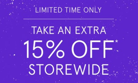 Take an Extra 15% Off Storewide