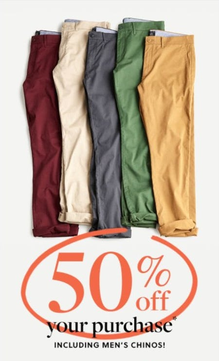 50% Off your Purchase Including Men's Chinos from J.Crew-on-the-island