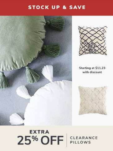 Extra 25% Off Clearance Pillows from Pier 1 Imports