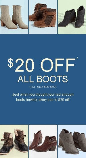 $20 Off All Boots from maurices