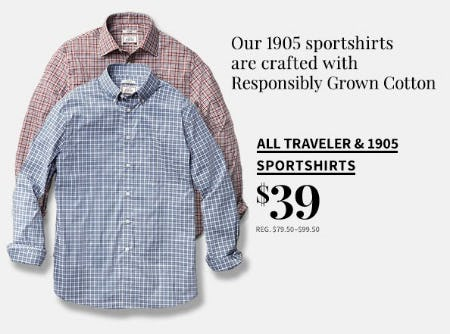 All Traveler & 1905 Sportshirts for $39 from Jos. A. Bank