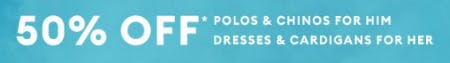 50% Off Polos, Chinos, Dresses & Cardigans from Banana Republic