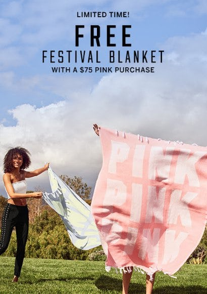 Free Festival Blanket With a $75 PINK Purchase from Victoria's Secret