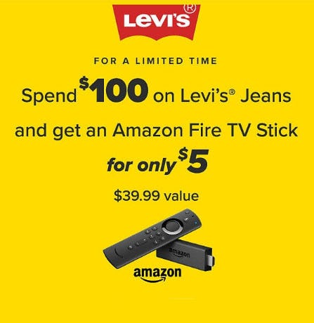 Get a $5 Fire TV Stick with Levi's Purchase
