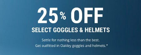 25% Off Select Goggles & Helmets from Oakley