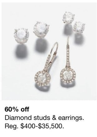 60% Off Diamond Studs and Earrings from macy's