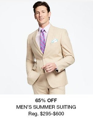 65% Off Men's Summer Suiting