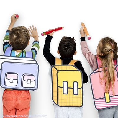 Three young kids drawing on an white wall with 3d backpack on ae65468a2f8ad