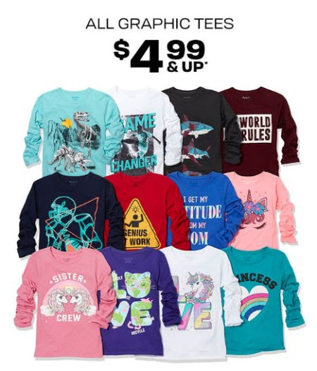 All Graphic Tees $4.99 & Up from The Children's Place