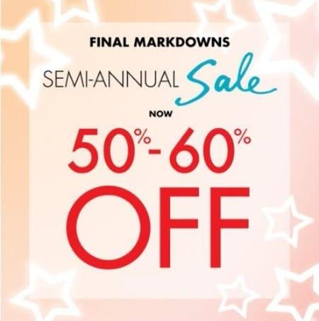 Semi-Annual Sale now 50%–60% Off