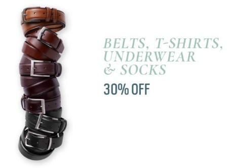 Belts, T-Shirts, Underwear & Socks 30% Off from Men's Wearhouse
