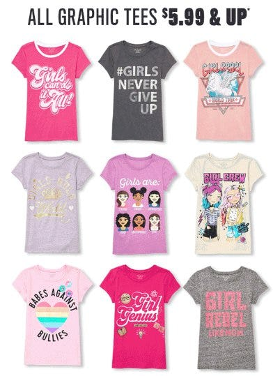 All Graphic Tees $5.99 & Up from The Children's Place