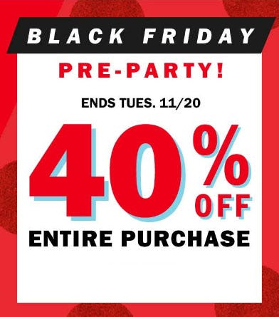 40% Off Black Friday Pre-Party from Old Navy