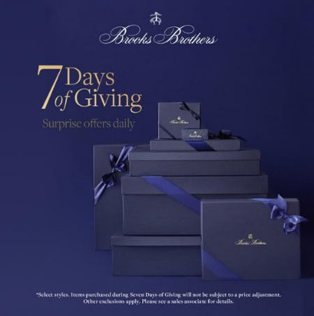 Seven Days of Giving from Brooks Brothers