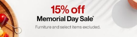 Memorial Day Sale 15% Off from Crate & Barrel