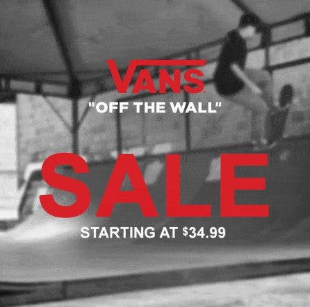 Vans Sale Starting at $34.99