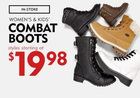 Women's & Kids' Combat Boots Starting at $19.98 from Shoe Carnival