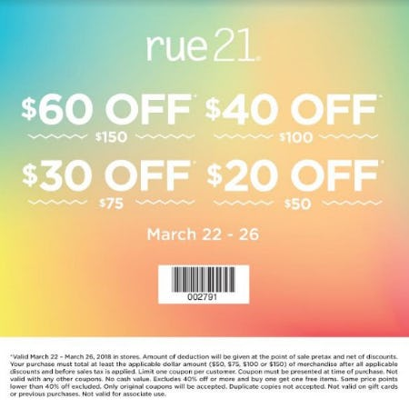 $60 Off $150 from rue21