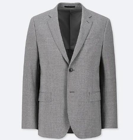 Men Stretch Slim-Fit Wool Jacket from Uniqlo