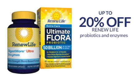 Up to 20% Off Renew Life Probiotics and Enzymes