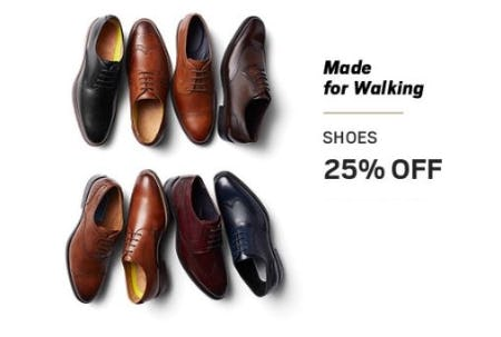 25% Off Shoes from Men's Wearhouse