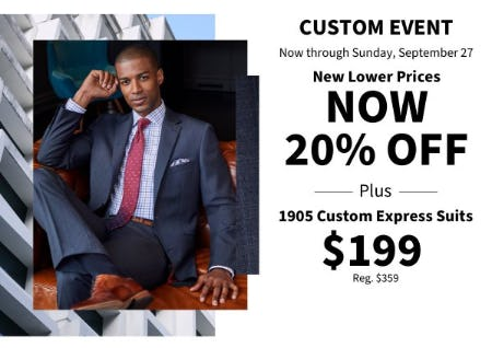 20% Off Custom Event Plus 1905 Custom Express Suits $199 from Jos. A. Bank