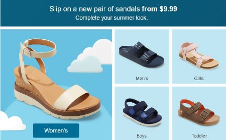 Sandals from $9.99 from Target